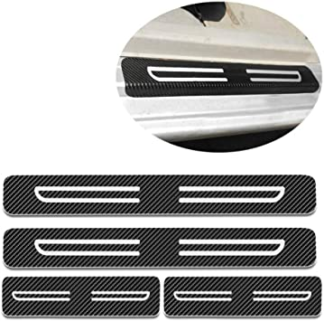 For Toyota Tacoma Sienna Tundra Verso Vios Yaris Door Sill Protector Reflective 4D Carbon Fiber Sticker Door Entry Guard Door Sill Scuff Plate Stickers Auto Accessories 4Pcs Red