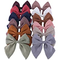Original Linen Bow Hair Clips Baby Girls Women Large Sailor Bows Kids Baby and Mom Hair Bow Alligator Clips White Red…