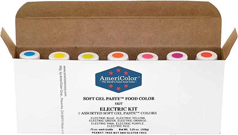AmeriColor Food Coloring - Electric Kit - Soft Gel Paste, 7 .75 Ounce  Bottles