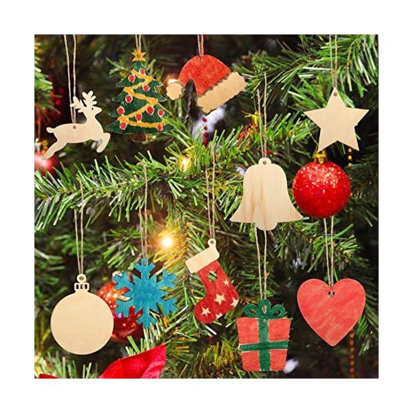 KATELUO 100 Pezzi Decorazioni Natalizie in Legno, Natale Ciondolo in Legno, Decorazioni Albero di Natale in Legno, Ornamenti Natalizi in Legno per Decorare Albero di Natale Fai da Te Etichette Regalo 5 spesavip