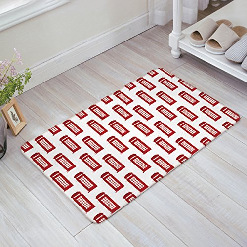 390 Telephone - OneHoney London Famous Telephone Booth and the Big Ben in England Street View Symbols of Town Retro Entrance Rug Floor Mats Home Welcome Shoe Scraper Doormat 18