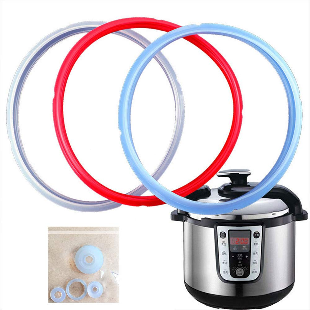 Anytec 3PC Rubber Pressure Cooker Gaskets Replacement Silicone Sealing Ring for 3L/4L/5L/6L/8L Electric Pressure Cookers Kitchen Cookware Tool with 4pcs Float Valve Gaskets (8L)
