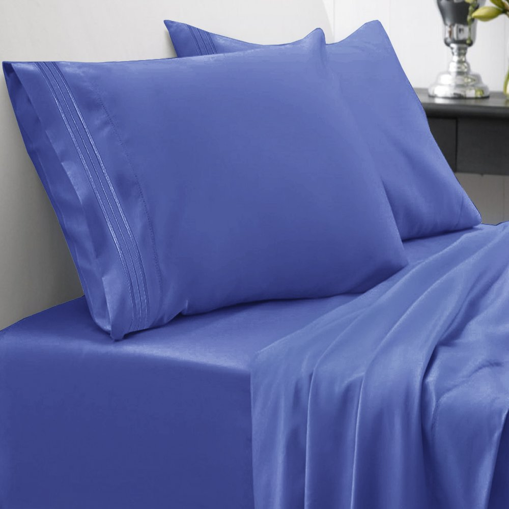 Sweet Home Collection 1800 Thread Count Bed Sheet Set Egyptian Quality Brushed Microfiber 4 Piece Deep Pocket, RV Short Queen, Royal Blue