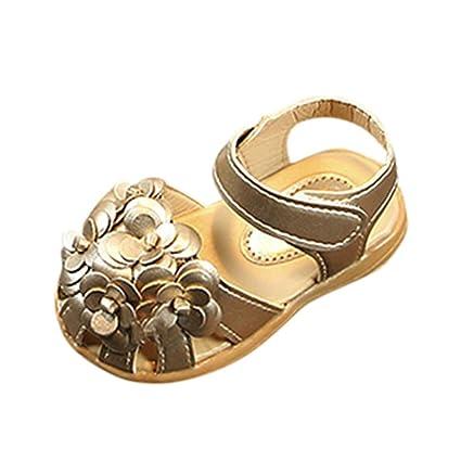 Zapatos Niña Bebé ❤ Amlaiworld Verano Sandalias de cuero de niñas bebé flor Zapatos de