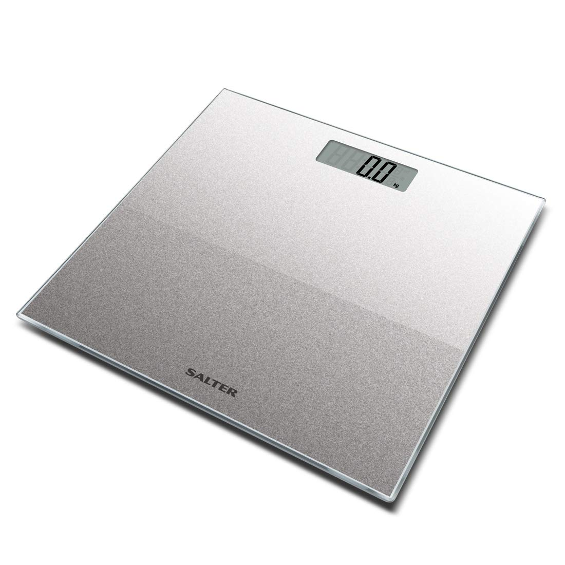 Salter Glitter Bathroom Scales – Supersize Digital Display Electronic Scale for Precise Weighing, Toughened Glass Platform, Step-On for Instant Reading, Metric + Imperial. 15 Year Guarantee - Silver FKA Brands Ltd 9037 SVGL3R