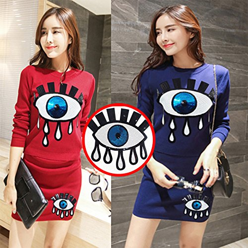 HOODS Sew on/Iron on DIY Embroidered Big Eyes Patches for Clothes with Sequins Applique Craft Fashion Accessories Perfect for Jeans, T-shirts & Coats
