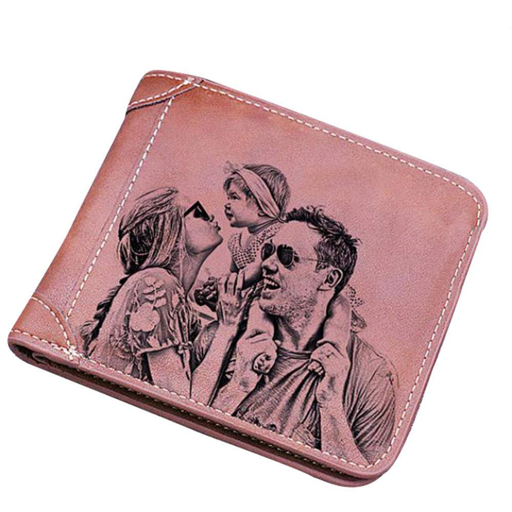Personalized Genuine Leather for men Custom Mens Wallet Engraved photo wallet Fathers Day Gift