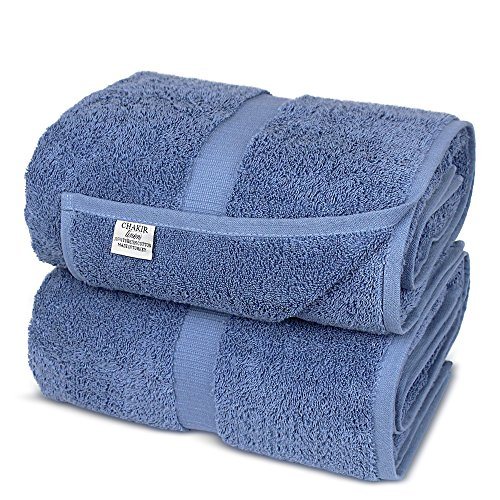Chakir Turkish Linens Turkish Cotton Luxury Hotel & Spa Bath Towel, Bath Sheet - Set of 2, Wedgewood