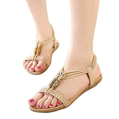 SandalsElaco Women's Sweet Beaded Clip Bohemian Herringbone Shoes