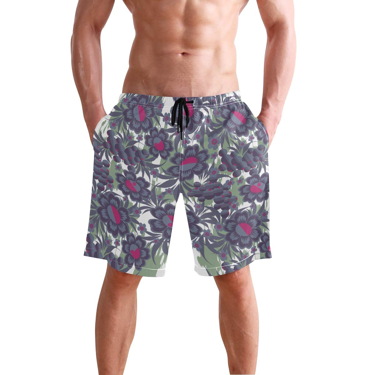 Humphy Albe Mens Seamless Flower Fruits Quick Dry Bathing Suits Beach Board Shorts