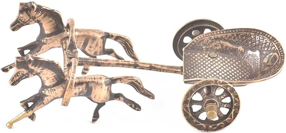 Indian Shelf Handcrafted Brass Vintage Chariot Pulled by Two Horses Statues Decoration Vintage Statement Pieces