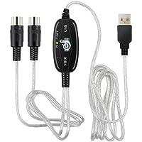 Diamoen Teclado Midi eléctrica o Adaptador Adaptador Midi Midi a USB Cable convertidor Adaptador de Accesorios Teclado