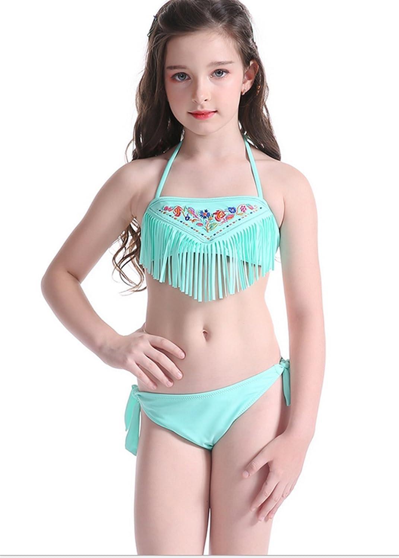 Amazon.com: UNIQUEONE Kids Girls Summer Floral Tassels Halter Bikini ...