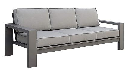 Amazon.com: Benzara Sofá de 3 plazas con marco de aluminio y ...