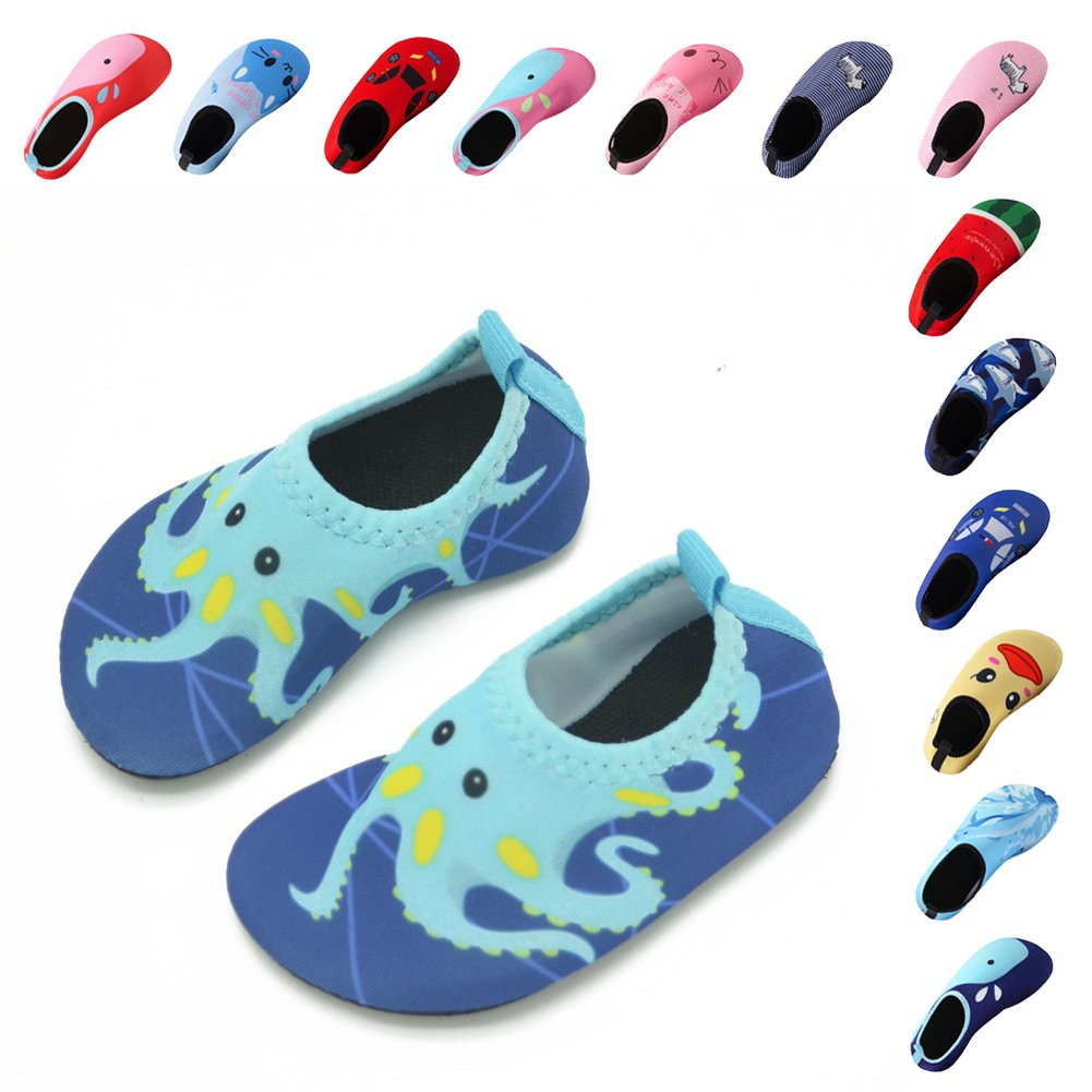 Lauwodun Baby Boys Girls Water Shoes Barefoot Aqua Sock Shoes for Beach Pool Surfing Yoga Swimming Walking-Green Octopus1819 by Lauwodun (Image #1)