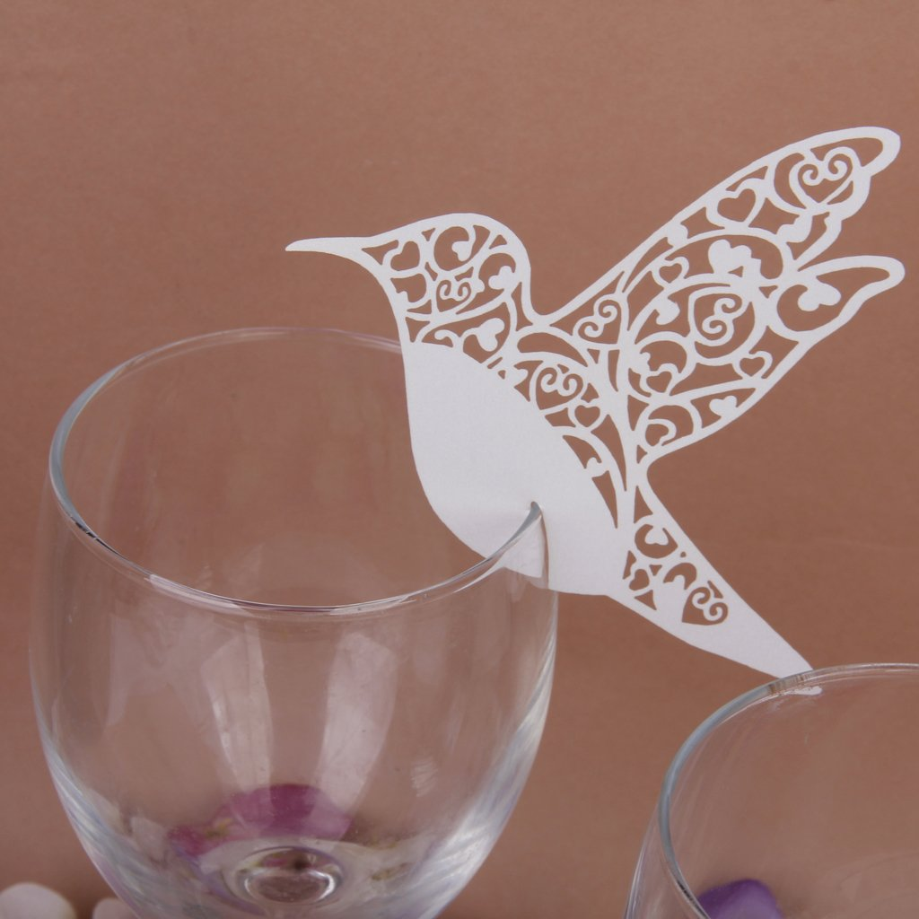 Amazon 50 white humming birds wedding table name place cards amazon 50 white humming birds wedding table name place cards wine glass party decoration favor by ahg kitchen dining junglespirit Gallery