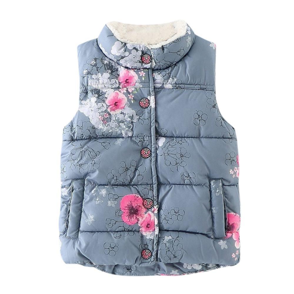 Anxinke Kids Girls Waistcoats Jackets, Winter Little Girls Floral Printed Warm Button Vest Coats Outwear (5T)