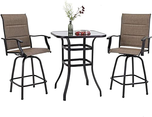 PHI VILLA Swivel Bar Stools Set 3 PC Outdoor Kitchen Bar Height Patio Bistro Set Padded Sling Fabric