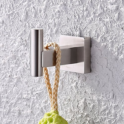 KES SUS 304 Stainless Steel Coat Hook Single Towel/Robe Clothes Hook for Bath Kitchen Garage Heavy Duty Contemporary Square Style Wall Mounted, Brushed Finish, A2260-2 - Nickel Wall Bath