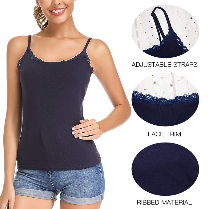 Carcos Crop Top Tank Top para Mujer Camisola con Sujetador Cuello con Ribete de Encaje Cami Correa de Espagueti Ajustable Tops de Capa