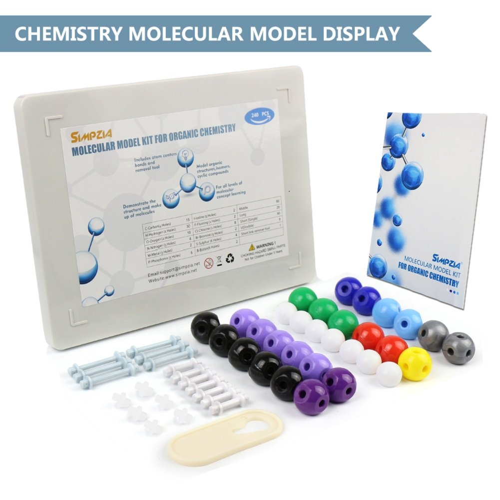 SIMPZIA 240 Pcs Organic Chemistry Model Kit  Molecular Model kit, Chemistry Organic and Inorganic Modeling Students Set with Manual & Atoms, Bonds for Students, Teachers & Scientists by SIMPZIA (Image #2)