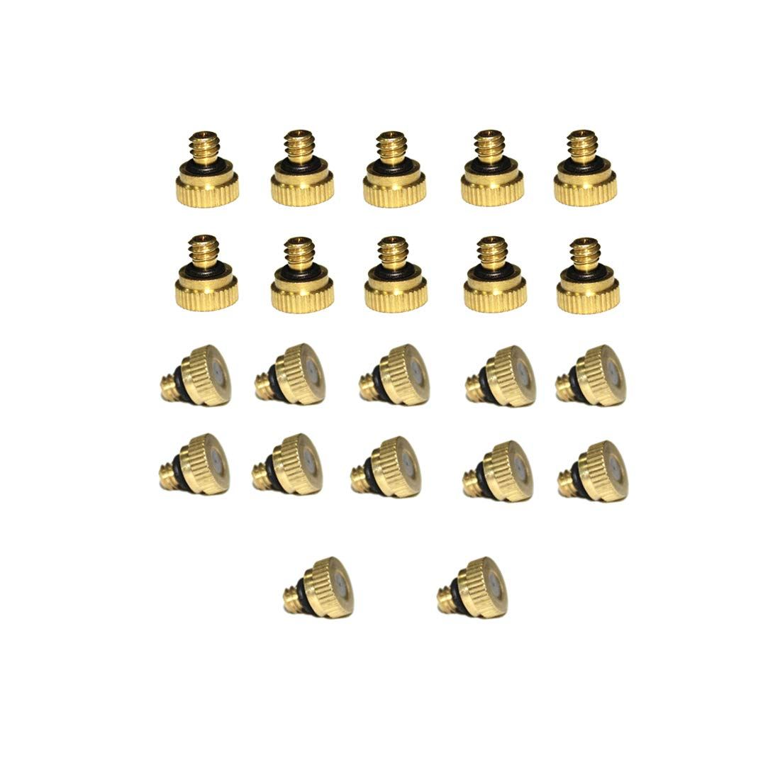 Balidao - 0.4mm 22pcs/Pack Orifice Thread 10/24 UNC Mosquito Water Stainless Steel Mist Nozzle, Homemade Micro Anti Drip Brass Water Misting Nozzles, Mister Nozzle For Outdoor Cooling System