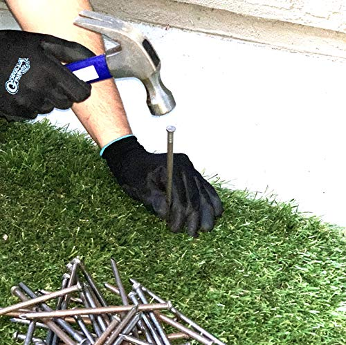 USA MADE - LARGE Synthetic Grass 6 Stakes (5 Pound) Non-Galvanized Thick 4-Gauge Professional Style, Will Rust for Extra Hold - Spikes for Artificial Turf & Landscape (Approximately 50 Nails Per Bag)