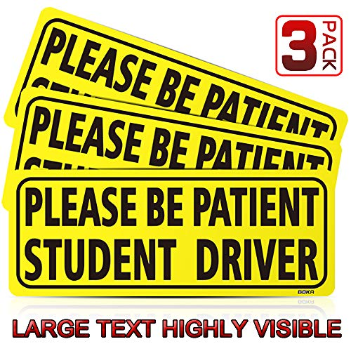 BOKA Student Driver Magnet Car Signs - Reflective Vehicle Bumper Magnet Set of 3 Magnetic Bumper Sticker for New Driver Novice in Yellow