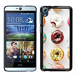 HTC Desire D826 , JackGot - Impreso colorido protector duro espalda Funda piel de Shell (Buñuelo del chocolate glaseado dulce panadero)
