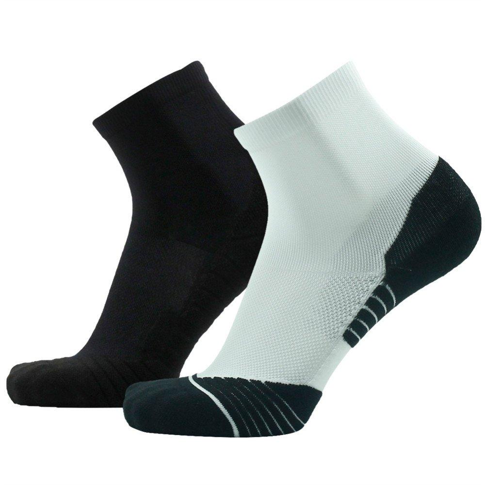Running Socks HUSO Ankle High Performance Fashion Cool Athletic Running Socks for Men 2 Pairs, White&Black