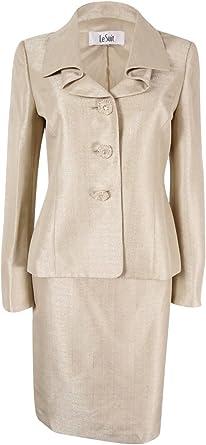 Le Suit Womens Plus Size Shimmer 3 Button Lapel Suit