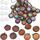 ToBeIT 36pcs Bezel Pendant Trays round wooden and