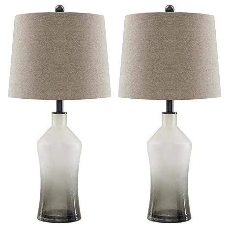 Amazon.com: Nollie Gris lámpara de mesa de vidrio (2/CN ...