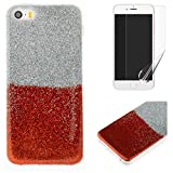 For iphone 5/5S iphone SE Glitter Case with Screen Protector,OYIME Luxury Shiny Design Ultra Thin Slim Fit Soft Silicone Rubber Bumper Scratch Resistant Protective Back Cover - Red