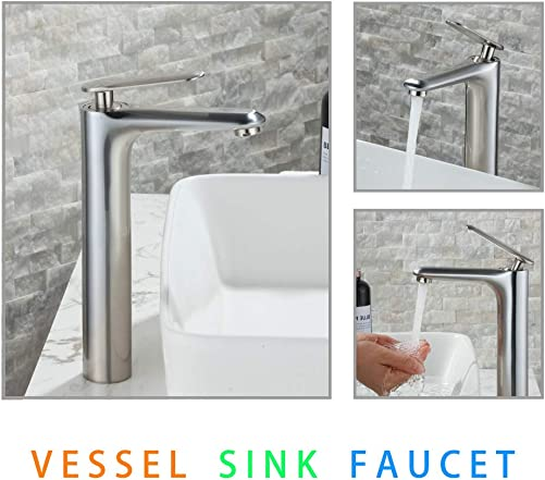 Beelee Contemporary Bathroom Bowl Vessel Sink Faucet Single Handle One Hole Brushed Nickel,Basin Mixer Tap