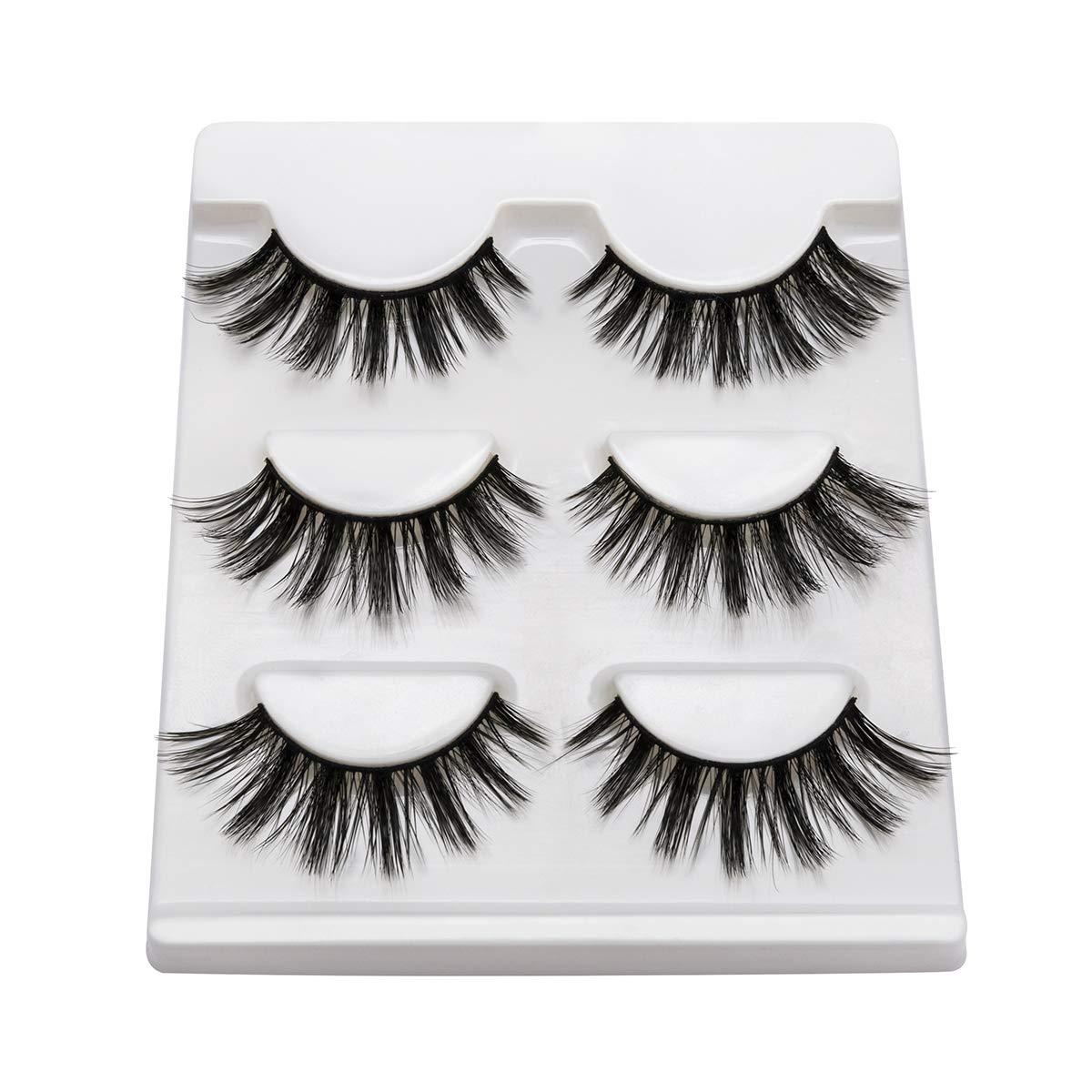 DYSILK 3D Mink Fake Eyelashes Fluffy Ffalse Eyelashes Natural Look Eyelashes Handmade Extension Thick Long Reusable Soft Lashes Makeup Black 3 Pairs