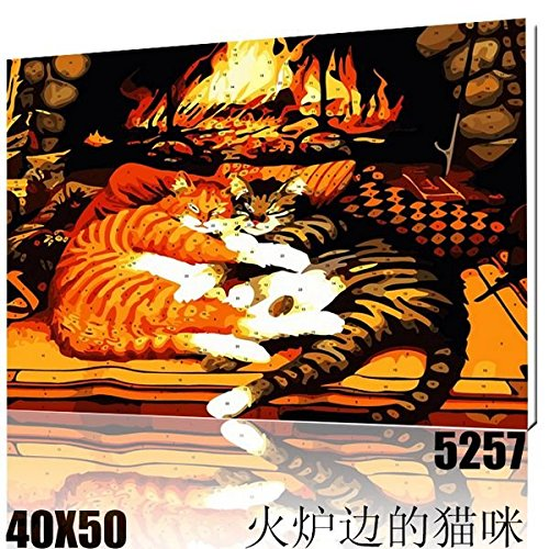 - X-1R Cats Near Inglenook-New DIY Digital Oil Painting Paint By Number Kit Wall decoration 1620 Inch