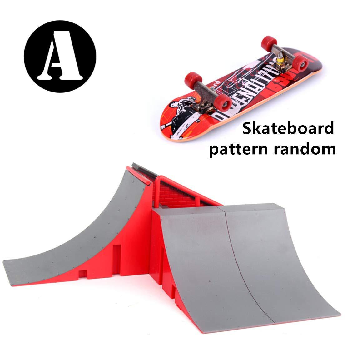 Lethend Skate Park Kit Ramp Parts for Fingerboard, Mini Finger Skateboard Fingerboards Ultimate Parks Training Props, Interesting Indoor Toys for Boys (Type A) by Lethend