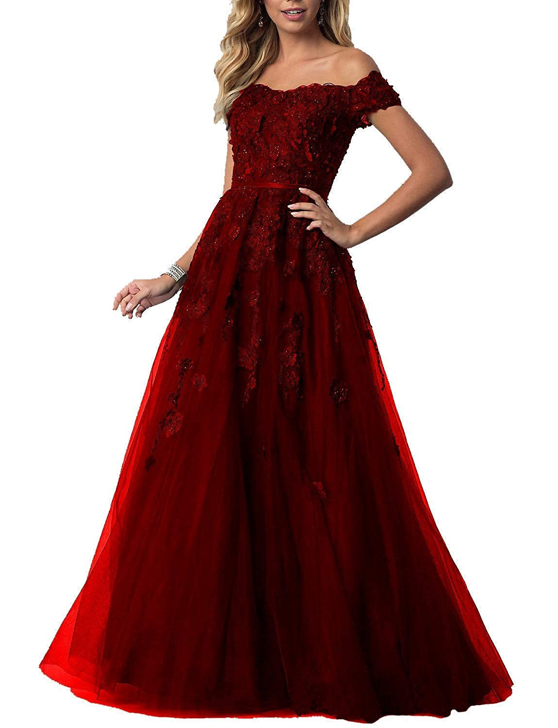 Burgundy Sulidi Women's Lace Off Shoulder Prom Dresses Tulle Prom Formal Evening Party Gowns C070