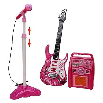 Slu17 Kids 6 Cuerdas Juego eléctrico Juego de Soporte de micrófono ...