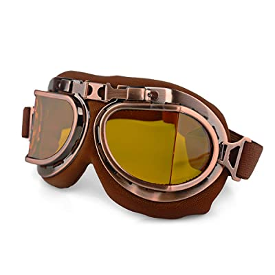 LILSIS Retro Motorcycle Goggles Vintage Moto Classic Pilot Glasses for Harley ATV Bike Copper Helmet: Automotive
