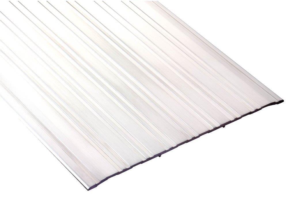 Pemko Fluted Saddle Threshold, Mill Finish Aluminum, 48''L x 8''W x 0.25''H