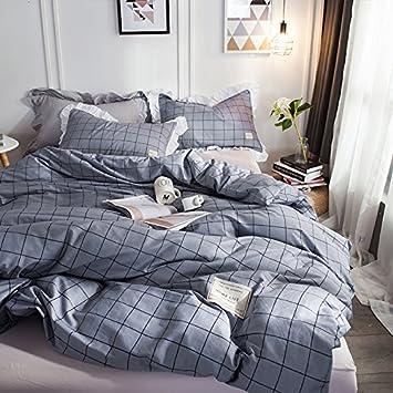 BB.er Cotton Striped Plaid Minimalist Bedding 4 Piece Set Sheets Quilt  Cover Pillowcase