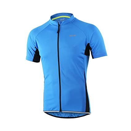 3a137ba22 ARSUXEO Men s Slim Fit Cycling Jersey Short Sleeves Bike Bicycle MTB Shirt  Blue Size Small