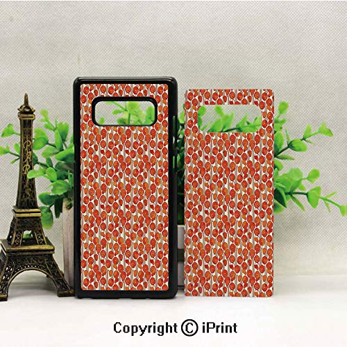 (Case for Galaxy note8,Art Nouveau Style Poppy Flowers Retro Spring Summer Garden Foliage Petals Shockproof Series TPU Bumper Protective Case for Samsung Galaxy note8, 2017 Release Print Design Vermil)