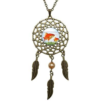 075bf88cadda Atrapasueños colgante de peces tanque de peces tema bronce cadena larga  collar joyas de plumas colgantes charms cristal incrustados  Amazon.es   Joyería