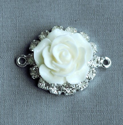 Ivory Resin Rose - 10 Rhinestone Button Crystal Ivory Cream Resin Rose Flower Earring Necklace Bracelet Connector BT136