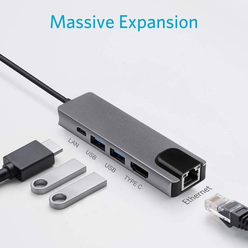 USB-C Type C Hub Expander, Elaco 5 in 1 USB 3.1 Type C Hub Expander 4K Hdmi USB 3.0 to Rj45 LAN Adapter Charger for MacBook USA Warehouse