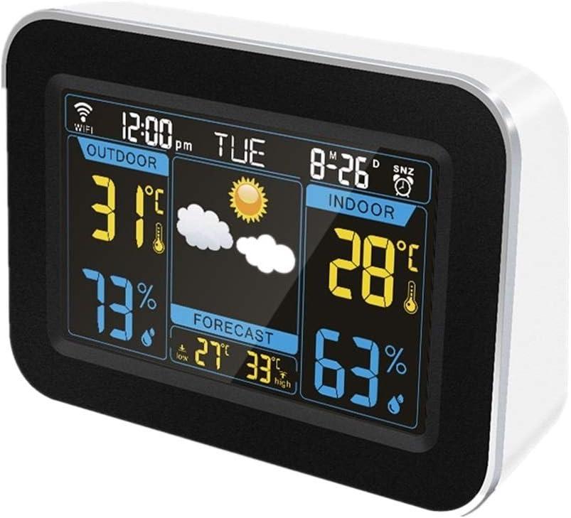 目覚まし時計 スマートカラー画面天気予報時計屋内と屋外の温度と湿度パーペチュアルカレンダー目覚まし時計 大音量 ベル (Color : White)