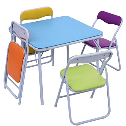 Foldable Table And Chair Set.Amazon Com Lucidz Folding Table Chair Set Children Kids 5